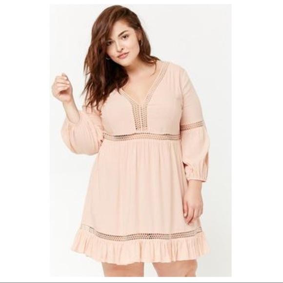 Forever21+ Plus Size Boho Me Crochet Peasant Dress